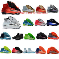 Wholesale Boys Shoes Boots - 2018 original boys soccer cleats Mercurial Superfly CR7 V Ronalro FG kids football boots mens soccer shoes Neymar cleats Rising Fast Pack