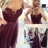 Wholesale Blue Lying - Burgundy Chic Prom Dresses 2017 Sweetheart Vintage Lace with Pearls A Lie Organza Keyhole Back Floor Length Pageant Party Gowns Custom