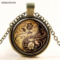 Wholesale Yin Yang Wholesale - Wholesale- Rose yin and Yang taiji time glass pendant necklace sweater chain necklace