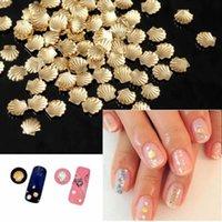 altın kabuk çantası toptan satış-Toptan-100 adet / torba 3mm Boyutu Kadınlar DIY Metal Altın Şerit Renk 3d Nail Art Süslemeleri Kabuk Şekli Çivi Dekor Araçları Sticker
