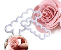 Discount sugarcraft rose cutters Wholesale,3pcs set Rose Flower Cookie Cutter Fondant Cake Decorating Tools Sugarcraft Biscuit Cutter for Kitchen Baking Tool, Free Shipping