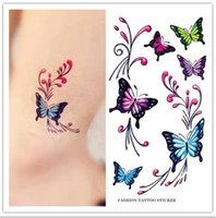 Wholesale Tattoo Designs Hand Butterfly - Women Sexy MakeupTattoos Chest Shoulder Temporary Tattoo Sticker Colorful Butterfly Design Body Art Waterproof Fake Tattoos