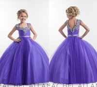 Wholesale Square Neckline - Purple Flower Girl Dresses Square Neckline Sparkly Crystals Beaded Tulle Floor Length Open Back Birthday Party Dress Pagent Dress Ball Gown