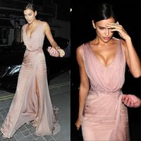 Wholesale Sexy Tight Black Silk Dress - Sexy Tight- fitting v- neck bust pink celebrity silk chiffon dress Evening Gown