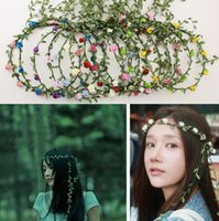Wholesale Diy Flower Hair Band - Party Wedding Bridesmaid Floral flower garland forehead hair garlands Bride Wedding Hair Band bridal wreath flowers rattan diy free shipping