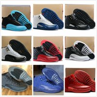 Wholesale baron plush - 2017 air 12 XII basketball shoes ovo white Flu Game GS Barons wolf grey Gym red taxi playoffs gamma french blue white sneaker