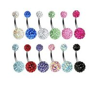 Wholesale Crystal Ball Belly Wholesale - Shamballa Crystal Disco Ball Belly Button Ring Ferido Navel Belly Bar Double Ball Piercing Jewelry 10mm Free Shipping