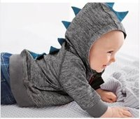 Wholesale Dinosaur Tracksuit - 2015 Small Baby Boys Dinosaur Hoodies Gray Black Zipper Hooded Outwear Kids Clothing Children Long Sleeve Sweatershirts Boy's Tracksuit