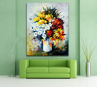 Wholesale modern palette knife online - Colorfil Flowers in Vase Palette Knife Oil Painting Printed On Canvas Modern Wall Art Picture For Office Home Art Decor