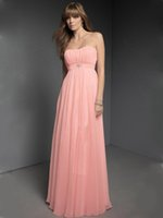 Wholesale Hot Pink Water Beads Wedding - Hot Selling 2015 Cheap Bridesmaids Dresses Strapless Pink Chiffon Floor Length Wedding Party Dresses Prom Gowns with Beads