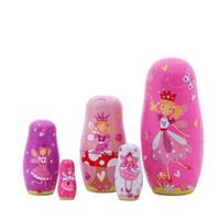 "Wholesale Wooden Nesting Toy - 5pcs Nesting Dolls Handmade Wooden Cute Cartoon Angel Girls Pattern 6"""