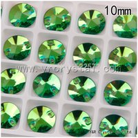 Wholesale Crystal Rivoli Diamond - Rivoli Peridot Color Sew on Rhinestones 225pcs Diamond Flatback Glass Strass Beads Round 10mm