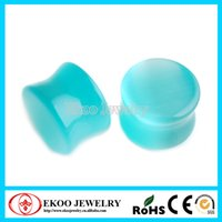 Wholesale Ear Plug Eye - Heavy Gauge Green Cats Eye Natural Stone Ear Plugs Mixed Sizes from 16mm-25mm Lot of 8pcs