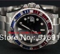pavimentar relógios venda por atacado-Relógios de luxo MENS ll RELÓGIO DOS HOMENS PAVAR AZUL RED DIAMOND BEZEL TALÕES RELÓGIOS DESPORTO Dive Relógios de Alta Qualidade