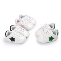 Wholesale Cute Shoes For Toddler Girls - Baby sneaker first walkers cute toddlers Five-Pointed Star patched soft sole slip-on shoes boys girls prewalkers for 0-2T