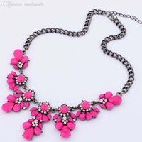 Wholesale Neon Fashion Necklaces - Wholesale-Fashion Ethnic Shourouk Gold Chain Choker Vintage Rhinestone Neon Bib Statement Necklaces Pendants Women Jewelry Gift MHM188
