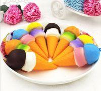 Wholesale Cake Tubes - New 20 Pcs Promotion simulation PU ice cream sweet tube mould Squishy false cake bread pendant key buckle decompression toy crafts