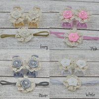 Wholesale Baby Matching Sandals - Baby Barefoot Sandals with Satin Rosette and Pearl Matching Headband Luxe Barefoot Baby Girl Headband 24set lot