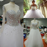 Wholesale Popular Tulle Wedding Dress - Real Images 2015 Popular Crystals Ball Gown Wedding Dresses Sheer Crew Neck with Long Sleeves Pearls Beaded Formal Arabic Vestidos De Noiva