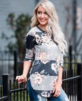 ingrosso pullover di fiori rosa-T-shirt Donna con stampa floreale Moda bianca Pullover Camicette Casual Top con O-Collo Autunno Donna Camicetta Abbigliamento