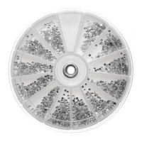 Wholesale Nail Decal Wheel - 2400pcs Wheel Mini Silver Clear Nail Art Crystal Gems Decal Case Rhinestones Round Decoration Diamante Manicure Tools