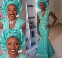 ingrosso bateau style bridesmaid dress-Ultimi stili di ebo arabi Abiti da sera arabi Nigeria Pizzo Mermaid Prom Party abiti da damigella d'onore Cap Sleeve Plus Size Abbigliamento
