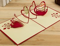 Wholesale Card Love Kirigami - 10pcs Hollow Love Handmade Kirigami Origami 3D Pop UP Greeting Cards For Wedding Birthday Party Gift