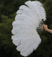 Wholesale Large Burlesque Fans - single layer White Ostrich Feather Fan Chinese Large Feather Fan Burlesque friend 25 inch by 45 inch