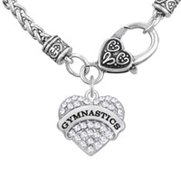 Wholesale Thick Charm Chain Necklace - Word GYMNASTICS Pendant Necklaces Bodybuilding Thick Heart Necklaces Crystal Heart Lobster Clasp Women Jewelry For Engagement Gift