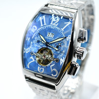Wholesale Mechanical Chronograph Skeleton Watch - High quality classic replica luxury geneva AAA brand skeleton stainless steel men mechanical watch fashion military men dress watch Relojes