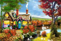 Wholesale houses lake painting for sale - Group buy 5D Diamond Embroidery needlework diy Diamond painting Cross Stitch Kits swan flower house lake full round diamond mosaic Room Decor yx1425