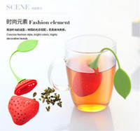 Wholesale Tea Dipper Balls - Strawberry Shape Silicon Tea Infuser Strainer Silicon Tea Filler Bag Ball Dipper Tea Tools Cup Hanger 50pcs