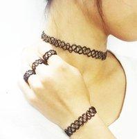 dövme çikolata yüzüğü toptan satış-2015 collares Vintage Streç Dövme Gerdanlık Kolye Punk Retro Gotik Elastik Kolye Kolye Bilezik Yüzük kadınlar için noel hediyesi DD
