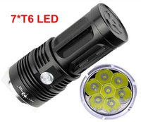 Wholesale Free Xm - free Epacket, SkyRay 7x XM-L T6 LED 3Mode Hunting Flashlight 10000 Lumens Flash Light Lantern 7T6 LED Torch by 4pcs 18650 Battery
