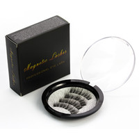 Wholesale Human Hair False Lashes - Three magnet 3D magnetic false eyelashes Natural hand-made 3 Magnetic False Eyelashes Eye lashes Beauty Makeup Accessories
