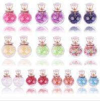 Wholesale Glass Gemstone Earrings - 2016 Transparent Glass Ball Earrings Double Sided Multicolor Gemstone Inside Diamond Crystal Stud Earings Wedding Jewelry For Women Girls