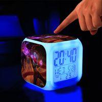 Wholesale league legends action figures - Wholesale- League of Legends Digital Clock 7 Color Change Music Alarm Clock Action Figures Electronic Toys Relogio Despertador Digital