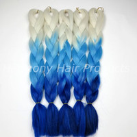 Wholesale blonde ombre braiding hair resale online - Kanekalon Jumbo Braid Hair Blonde Light blue Dark blue G inch Ombre Three Tone color xpression Synthetic Braiding extensions in stock