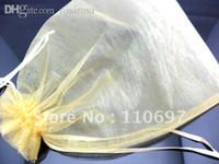 Wholesale Gold Organza Favour Bags - Wholesale-Wholesale LARGE BIG 23*17cm GOLD PLAIN ORGANZA Jewelry Gift Packing Bags Bulk 7*9 inch Wedding Favours VOILE Pouches