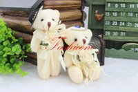 Wholesale Bride Groom Dolls Plush - 12pair  slot 13cm Mini Plush Bride & Groom Teddy Bear Wedding Bouquet Dolls