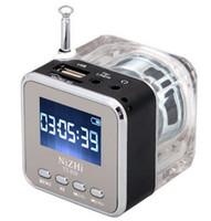 nizhi lautsprecher großhandel-LED Kristall Tragbarer Mini-Lautsprecher Nizhi TT-028 Lautsprecher TT028 FM TF U Disk MP3 Musik Player LCD Zeitanzeige Aluminiumlegierung Stereo Soundbox