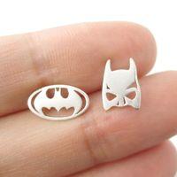 Wholesale Earring Mask Studs - 10pcs lot Batman Themed Bat Mask and Logo Shaped Stud Earrings in Silver DC Comics Super Heroes Themed Jewelry Ear Studs ED076
