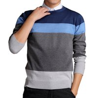Wholesale New Design Sweaters Men - FG1509 2015 Sweater Men Autumn Winter Fashion Knitting Brand New O-Neck Casual Male Slim Fit Pullover Striped Design Knitwear ZHY1970