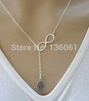 Wholesale Hamsa Necklace Wholesale - Fashion Jewelry 20pcs Vintage Silver Infinity Hamsa Hand Charms Clavicle Statement Choker Chain Necklace Pendants For Womens Clothing Q278