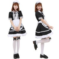 Wholesale Japanese Costumes Adult - Sexy Adult Woman's Short Sleeve French Maid Servant Costume Outfit Japanese Slave Girl Lolita Fancy Dresses Partywear Exotic Apparel