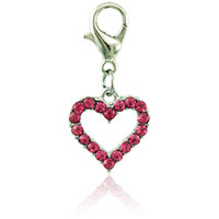 Wholesale Clasps For Jewelry Making - JINGLANG Floating Fashion Charms With Lobster Clasp Dangle Rhinestone Peach Heart Charms For Jewelry Making DIY Accessories