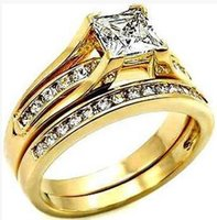 VVS 2.4 CT ROUND W LATERALI LAD DIAMOND 14K YELLOW GOLD FILLED PROMISE RING BAND SET