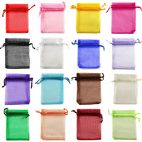 Wholesale Green School Bags - 5*7 7*9 9*12 13*18 15*20cm Drawstring Organza bags Gift wrapping bag Gift pouch Jewelry pouch organza bag Candy bags package bag mix color