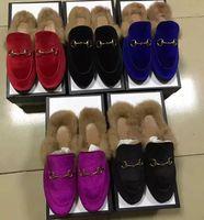 europäisches haar zum verkauf großhandel-Velvet Slippers Herbst Winter Echtpelz Flache Schuhe European Designer Hot Sale Loafers Kostenloser Versand Metallschnalle Kaninchenhaar