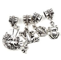 Frog Toad Charms Big Hole Beads 60pcs / lot 4Styles Tibetano Silver Fit Bracelets Jóias DIY Loose Beads